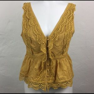 ABERCROMBIE & FITCH Gold LACE Victorian SUMMER TOP